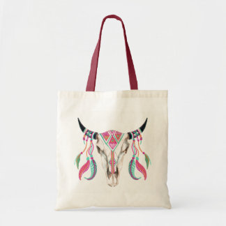 Cow Skull with Dream Catchers Tote Bag