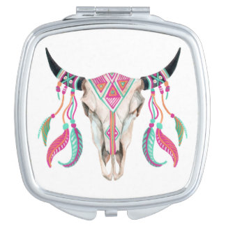 Cow Skull with Dream Catchers Travel Mirror