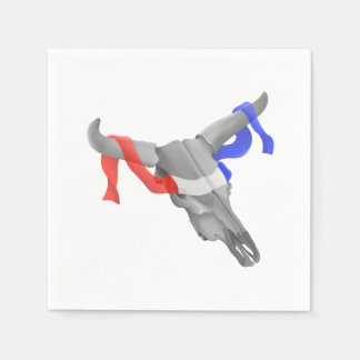 Cow Skull With Patriotic Ribbon Paper Napkins