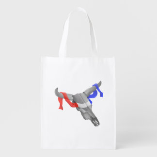 Cow Skull With Red White Blue Ribbon Grocery Bag