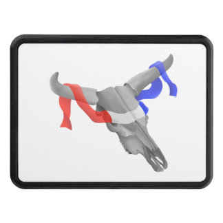 Cow Skull With Red White Blue Ribbon Hitch Cover
