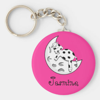 Cow Sleeping On The Moon Personalized Name Gift Basic Round Button Keychain