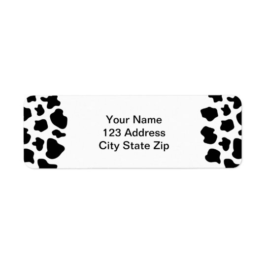 Cow spots pattern address label | animal print