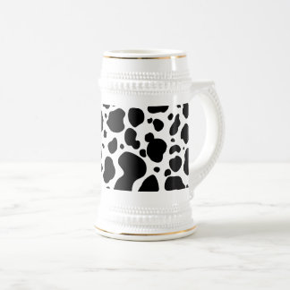 Cow Spots Pattern Black and White Animal Print Beer Stein