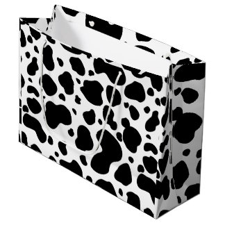 Cow Spots Pattern Black and White Animal Print Large Gift Bag