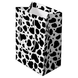 Cow Spots Pattern Black and White Animal Print Medium Gift Bag