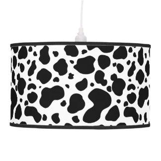 Cow Spots Pattern Black and White Animal Print Pendant Lamp