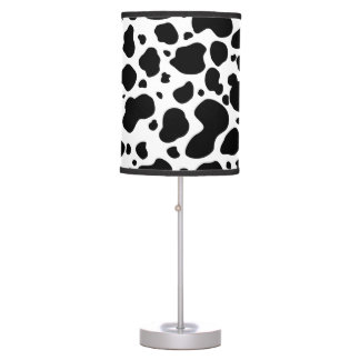Cow Spots Pattern Black and White Animal Print Table Lamp