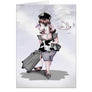 COW TRAVEL CARTOON GRETTING Card