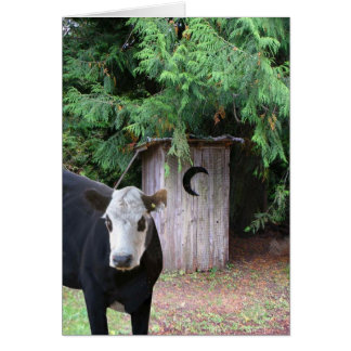 Cow Visits an Outhouse Note Card