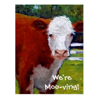 COW: WE'RE MOVING CARD POSTCARD