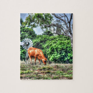 COW & WINDMILL RURAL QUEENSLAND AUSTRALIA JIGSAW PUZZLE