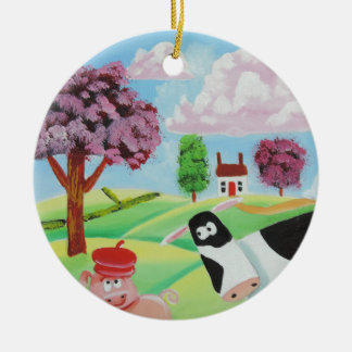 cow with a pig folk art painting round ceramic ornament