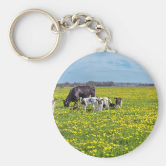 Cow with calves grazing in meadow with dandelions basic round button keychain
