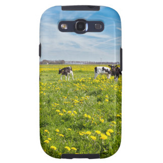 Cow with newborn calves in meadow with dandelions samsung galaxy SIII cases