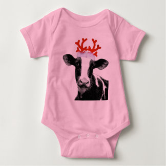 Cow with Reindeer Antlers Baby Bodysuit