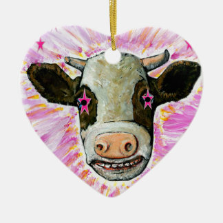 Cow with Stars in her Eyes Ceramic Heart Ornament