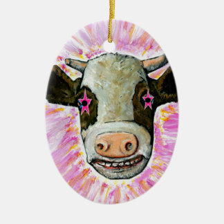 Cow with Stars in her Eyes Ceramic Oval Ornament