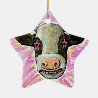 Cow with Stars in her Eyes Ceramic Star Ornament