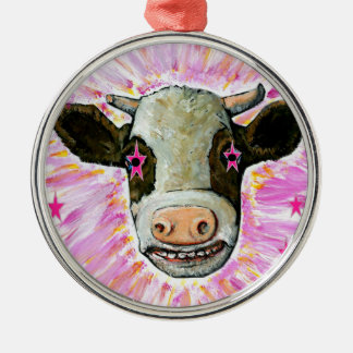Cow with Stars in her Eyes Silver-Colored Round Ornament
