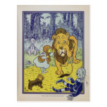 Cowardly Lion Wizard of Oz Book Page Post Card