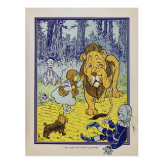Cowardly Lion Wizard of Oz Book Page Postcard
