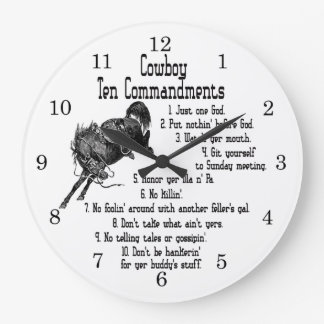 Cowboy 10 Commandments Large Clock