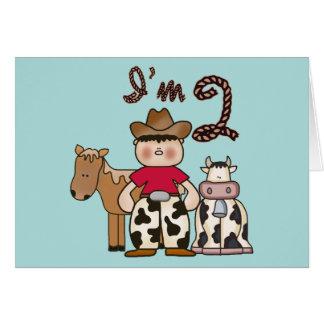 Cowboy  2nd Birthday Invitations Note Card