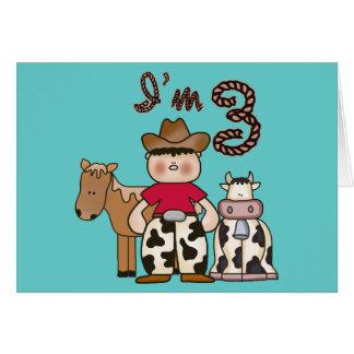 Cowboy 3rd Birthday Invitations Note Card