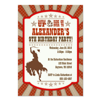Cowboy 9th Birthday Party Invitation