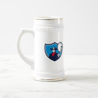 Cowboy Aiming Satellite Dish Crest Retro Beer Stein