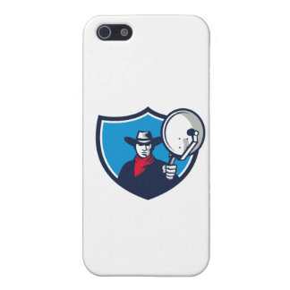 Cowboy Aiming Satellite Dish Crest Retro iPhone 5 Covers