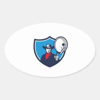 Cowboy Aiming Satellite Dish Crest Retro Oval Sticker