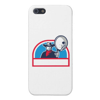 Cowboy Aiming Satellite Dish Half Circle Retro Case For iPhone 5/5S