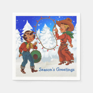 Cowboy And Cowgirl Kids Winter Party Napkins Disposable Napkins