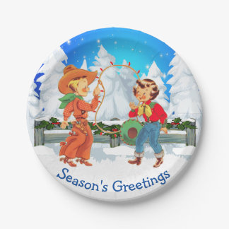 Cowboy And Cowgirl Kids Winter Scene Rope Lights Paper Plate