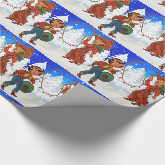Cowboy And Cowgirl Kids With Rope Lights Wrapping Paper