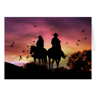 Cowboy and Cowgirl Riding Wedding Congratulations Card