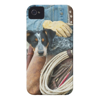 Cowboy and dog on horse iPhone 4 Case-Mate cases