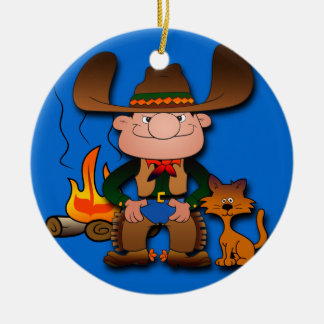 Cowboy and His Cat Ceramic Ornament