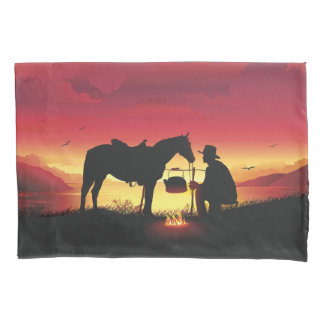 Cowboy and Horse at Sunset (2 sides) Pillowcase