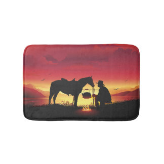 Cowboy and Horse at Sunset Bath Mats