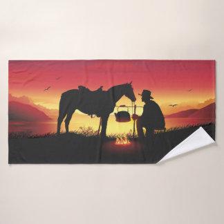 Cowboy and Horse at Sunset Bath Towel