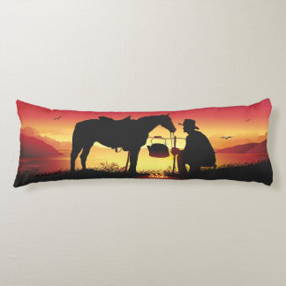 Cowboy and Horse at Sunset Body Pillow