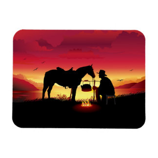 Cowboy and Horse at Sunset Flexi Magnet