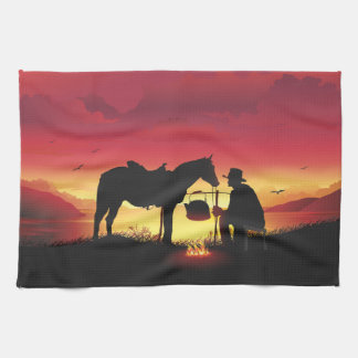 Cowboy and Horse at Sunset Kitchen Towel