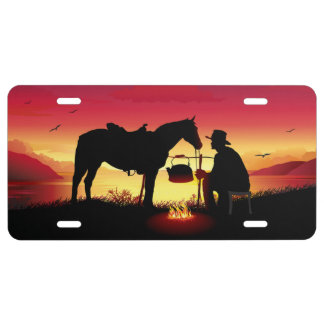 Cowboy and Horse at Sunset License Plate