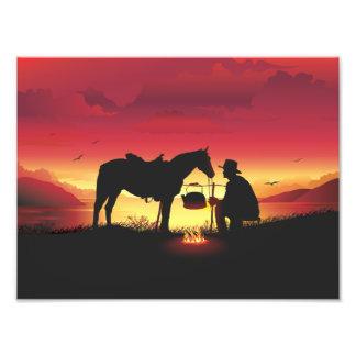 Cowboy and Horse at Sunset Photo Print