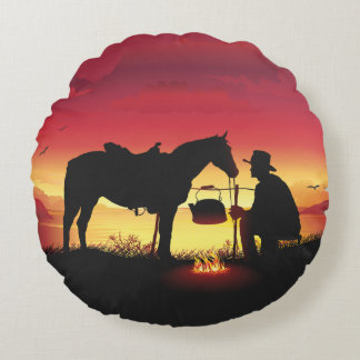 Cowboy and Horse at Sunset Round Pillow