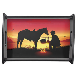Cowboy and Horse at Sunset Serving Tray